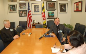 The Rev. Michael Wilker and Bishop of the ELCA Metropolitan Washington, D.C. Synod, the Rev. Richard Graham, meet with the office of Senator Barbara Mikulski