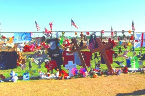 Tributes paid to tornaodes victims at the site of Plaza Towers Elementary School, one of the two elementary schools destroyed on May 20.