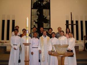 Truscott and students experiencing an Easter Vigil