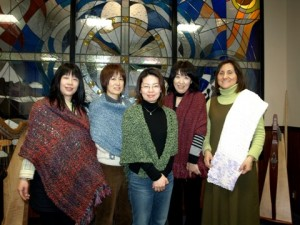 Lyra Precaria students and their prayer shawls