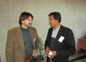 David talking with Pastor Emilo Aslla Flores, recently elected president of the Lutheran church in Bolivia.
