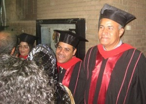 Vevian, Redda, and Fouad, looking happy in the graduation receiving line.