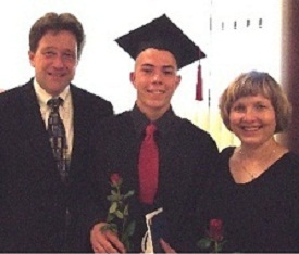 Arden and Janna Haug and their son , Alexei, their most recent high school graduate.