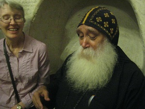 Linda visiting with Brother Ruis of St. Anthony's Monastery in the desert southeast of Cairo.
