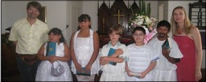 Our First Communion class, with David and Kate the bookends and Matthew in the middle.
