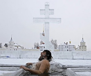 Plunging into ice-cold water is how some Russians mark the Baptism of Christ.