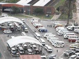 At a taxi rank, or terminal, there can be hundreds of minibus taxis waiting for passengers.