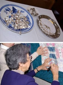 Top: Spoons are used to receive communion at Murozono Church. Bottom: A new member signs the congregation's quilt.
