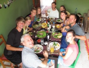 The Young Adults in Global Mission in Madagascar gather for a Thanksgiving meal.