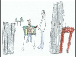 Luke Rimmer's drawing of getting his vaccinations.