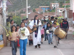 Palm Sunday included a procession through the neighborhood.