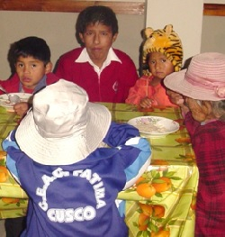 Italo, center, who lives alone, relies on the congregation's food program for his breakfast.