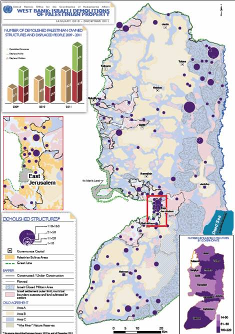Demolitions in Areas A, B and C of occupied Palestinian territory