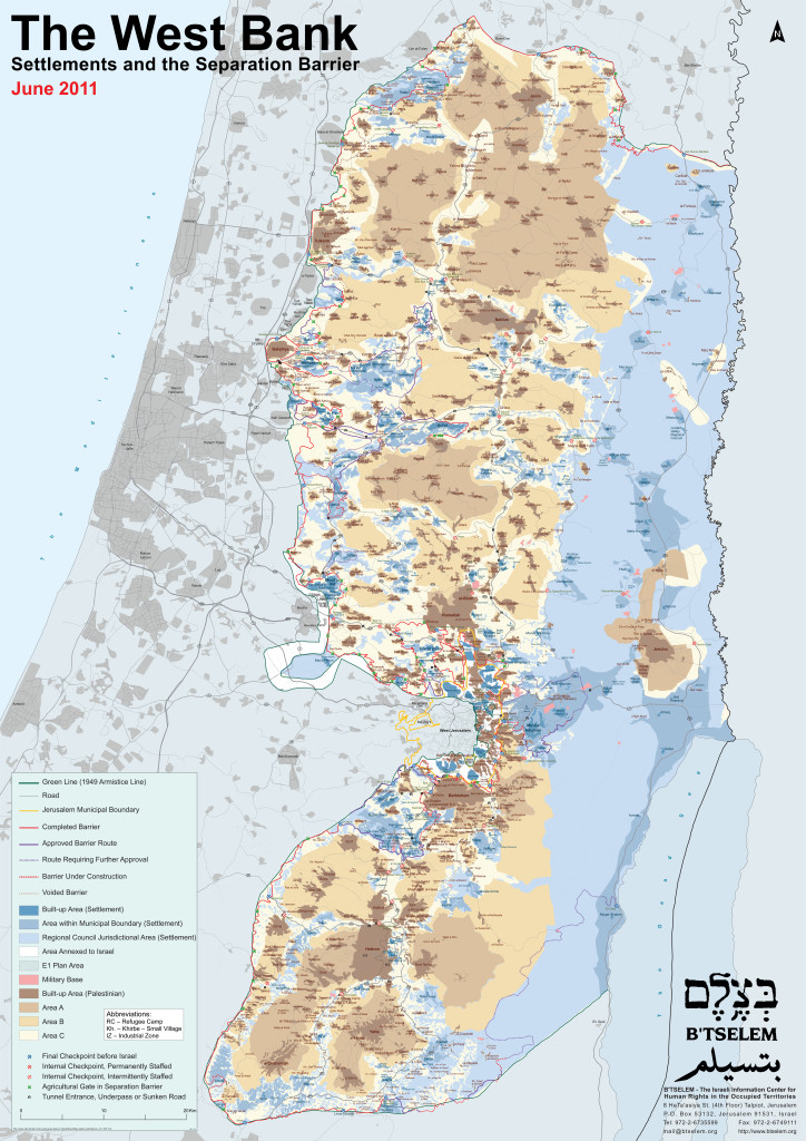 B'Tselem Map of The West Bank, June 2011