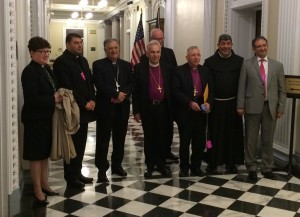 Meeting at the Executive Office Building included (Left to right) Presiding Bishop Elizabeth Eaton, Evangelical Lutheran Church in America; Fr. George Ayoub, Secretary to the Latin Patriarchate of Jerusalem and to Patriarch Fouad Twal; Latin Patriarch Fouad Twal; Anglican Archbishop Suheil Dawani; Canon Trond Bakkevig (coordinator of CRIHL and pastor in Church of Norway); Bishop Munib Younan, Evangelical Lutheran Church in Jordan and the Holy Land; Father Ibrahim Faltas, Representative of the Custos of the Holy Land; and Issa Kassissieh, Palestinian Authority Ambassador to the Holy See.