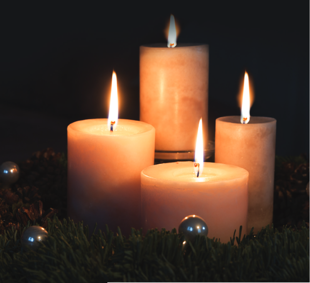 Lit Advent candles from cover of Advent study